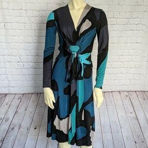 ISSA London | Size 4 Long Sleeve Multi Color Dress
